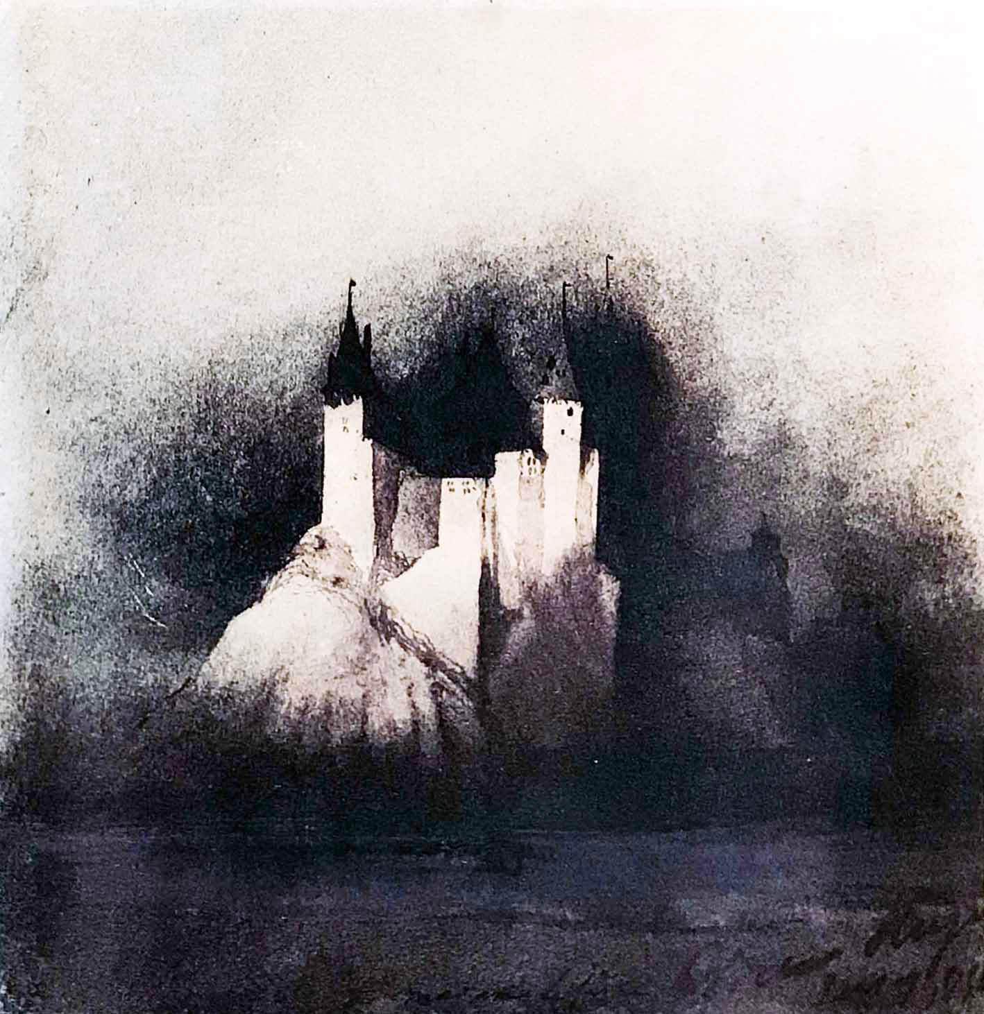 Burg im Mondlicht
