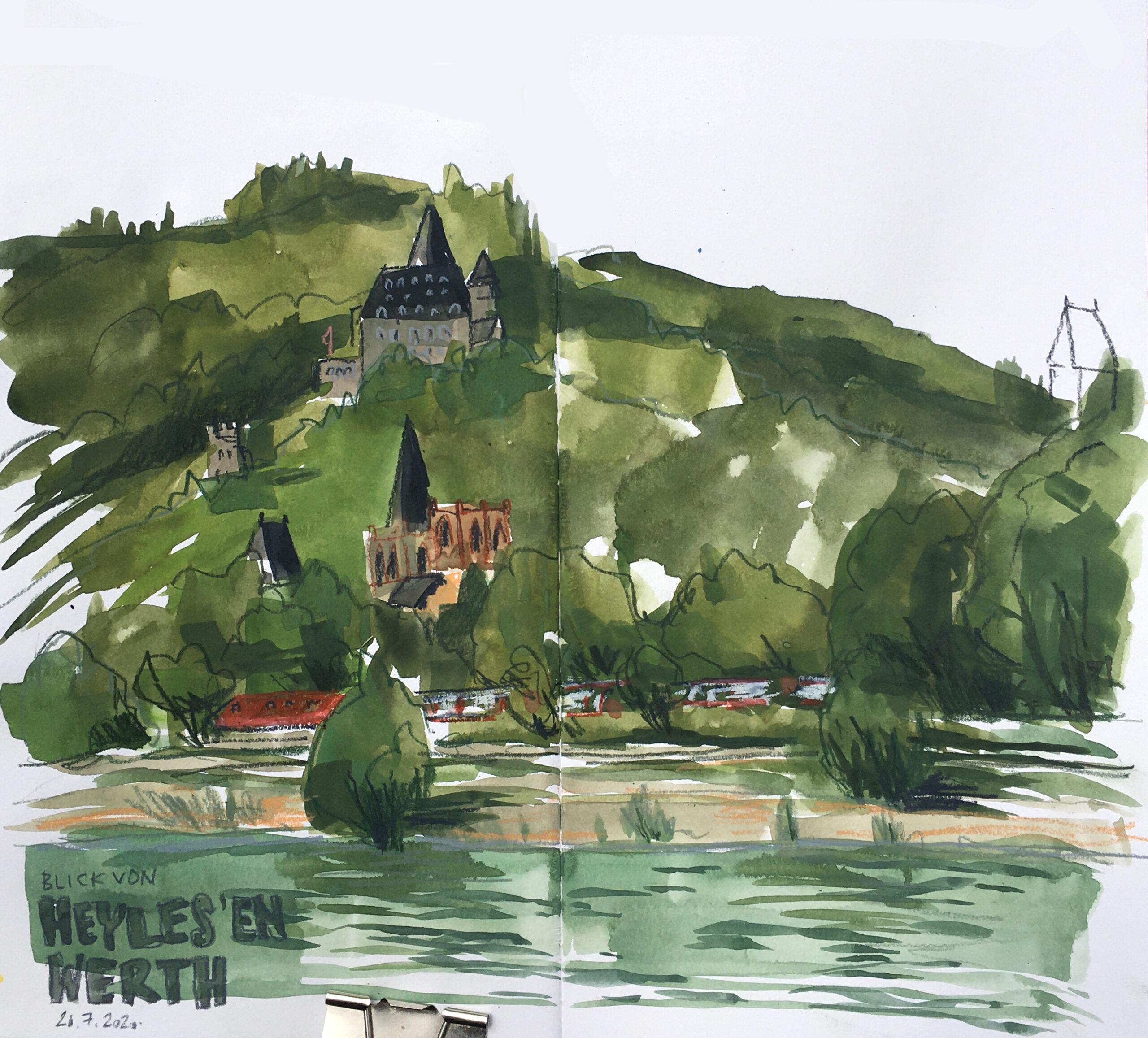 Blick von Heyles'en Werth auf Burg Stahleck und Bacharach